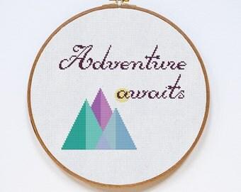 Adventure Awaits Cross Stitch Pattern, Adventure Modern Cross Stitch Pattern, Easy Counted Stitch Chart, PDF Format, Instant Download