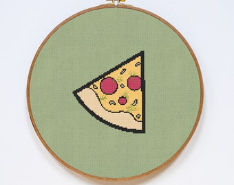 Pizza Cross Stitch Pattern, Cute Kitchen Easy Cross Stitch Chart, PDF Format, Instant Download