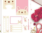 Bunny Rabbit Weekly Theme Planner Stickers |  Erin Condren | Life Planner | Horizontal & Vertical | PD038 | Cute | Easter