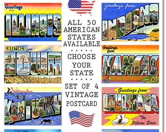 Vintage Iowa State Postcard, #2 H-M, Set of 4, CHOOSE Your Favorite USA State, Group TWO H-M, Postcards of the United States