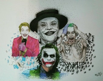 """Colored pencil drawing """"4 Jokers"""" DIN A3 12 """"× 17"""""""