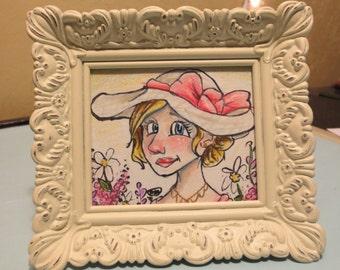 Victorian girl original framed art drawing