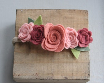 Felt Flower Crown-Baby/Child/Toddler Headband-Soft Pink