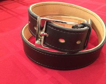"""39"""" Suit gun belt, black, with a chrome buckle"""