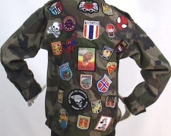 Reason khaki military jacket patches Size S