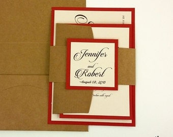 Rustic Wedding Invitations, Red Wedding Invitations, Kraft Invitations, Kraft Wedding Invitations, Rustic Invites, Rustic,  25 INVITATIONS