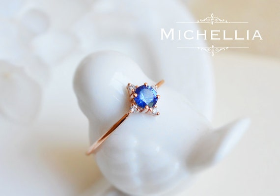 14k/18k Gold Sapphire Ring, Natural Blue Sapphire Polaris North Star Ring