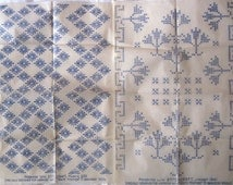 2 Vintage Iron-on Embroidery Transfers Featuring a Diamond Pattern of Flowers and a Cross Stitch Design of Stylised Trees (Stitchcraft)