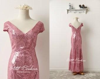 Pink sequin v-neck prom dress, bridesmaid dress, custom dresses, Pink sequin dress, Long Formal dress, custom dress, evening dress