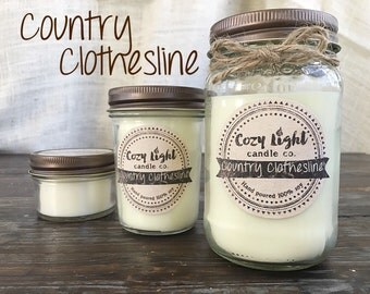 Country Clothesline Soy Candle |  Mason Jar Candle | Hand Poured