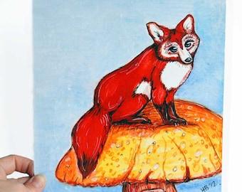 Fox painting, 8x10, fox portrait,  fox art, fox art print, of fox watercolor,  by Pango Fine Art