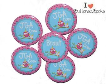10 x JGA buttons hen party OWL pink blue wedding celebration