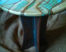 round hand painted side table
