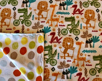Jungle - Baby Blanket - Baby Boy - Baby Shower Gift -Receiving Blanket - Swaddling Blanket - Ready To Ship -OOAK