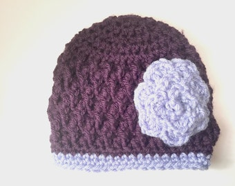 Two Toned Purple Baby Hat