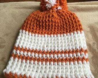BB-8 inspired orange and white beanie hat with pom-pom