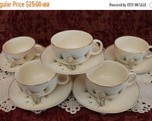 Fall Clearance Sale Set of 6 Crooksville China Mid Century Tea Cups and Matching Saucers - Green and Gold Windfowers on Ivory Background