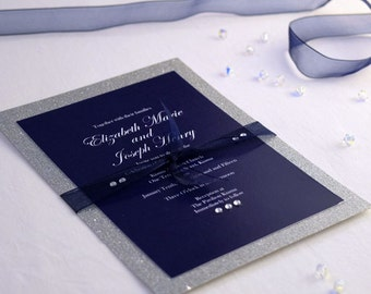 Luxe Wedding Invitations, Printed/Digital, Traditional Wedding, Any Occasion, Glitter