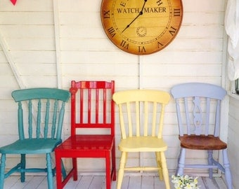 Painted Chairs, Mismatched Shabby Chic Chairs ~ Set Of four Six Eight Hand Painted Country Kitchen Vintage Chairs SOURCED TO ORDER ~Painted
