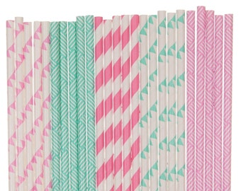 Paper Straw Mix, Aqua Blue and Hot Pink Paper Straws, Baby Shower Decor, Gender Reveal Paper Goods, 1st Birthday Straws, Spring Easter Straw