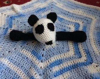 Crochet blue and white panda bear comfort/lovey blanket