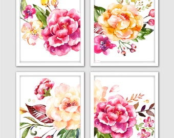 Watercolor Flower Print Set for Your Pink and Yellow Décor
