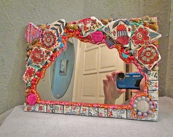Mosaic mirror, mixed media, gift for Her