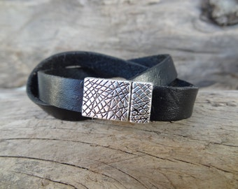 EXPRESS SHIPPING,Womens Wrap Leather Bracelet,Black Leather Bracelet,Cuff,Bangle Bracelet,Magnetic Bracelet,Gifts for Her,Mother's Day Gifts