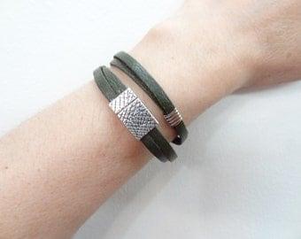 EXPRESS SHIPPING,Wrap Leather Bracelet,Olive Green Bracelet,Cuff,Bangle Bracelet,Magnetic Bracelet,Gifts for Girlfriend,Valentine's Gifts