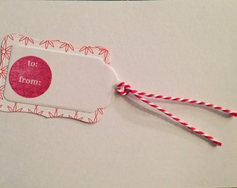 Red and White Gift Tag