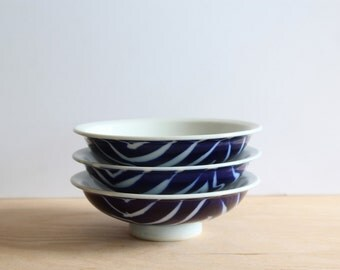 Trio of Small Blue & White Zebra Patterned Bowl | Dipping Bowls