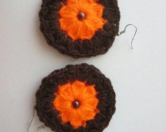 Earrings sunflowers crochet brown Orange color