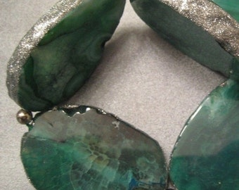 ON SALE Green Agate w/ Silver Dust Edged Beads 5pcs