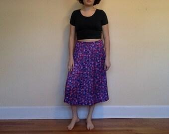 Satin Floral Pleated Midi Skirt, Floral Midi Skirt, Vintage Pleated Skirt, Purple Pleated Skirt, Midi Pleated Skirt