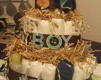 Forrest themed diaper cake