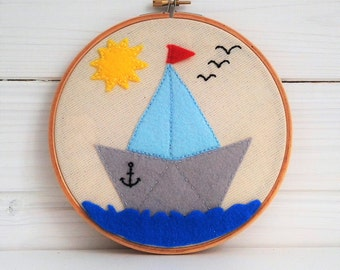 Embroidery hoop art, Nautilus, Fabric Wall Hanging, Nursery Wall Art, Baby Shower Gift, Gift Under 50, Nursery Decor, Art Embroidery