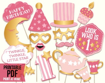 Twinkle twinkle little star PRINTABLE first birthday girl photo booth props. Digital download, printable PDF. Baby shower ideas.