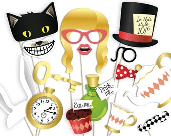 Alice in Wonderland props: printable PDF. Alice in Wonderland photo booth props. Alice in Wonderland party printables. Hats and decorations.