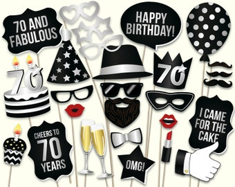 70th birthday photo booth props printable PDF. Black and silver Seventieth birthday party supplies. Printable Props Mustache, lips, glasses