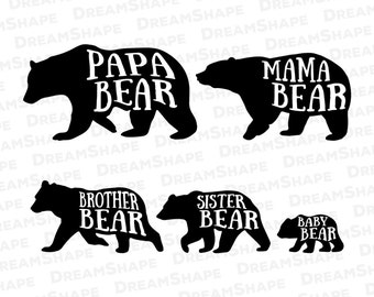 Bear Family SVG Files, Mama Bear SVG Files, Mama Bear & Baby Bear Svg Files, Papa Mama Bear Dxf File, Bear Family SVG Files Instant Download