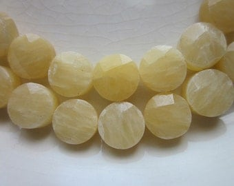 "Yellow Calcite Faceted Coin Beads, 8mm, 16"" Strand"