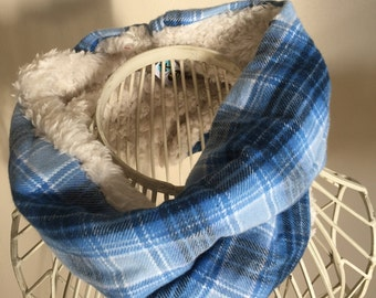 Faux fur and plaid cowl
