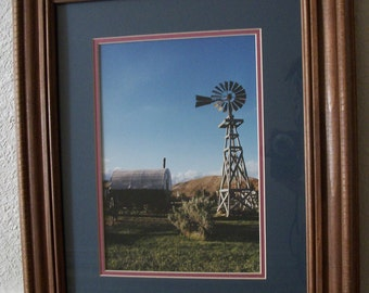 Signed Water Pumping Windmill Matted and Wood Framed Photograph