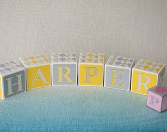 Large baby name blocks - Elephant theme baby blocks - Yellow and great name blocks - numbers and name block