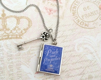 Pride and Prejudice Miniature Book Locket Necklace, Jane Austen Necklace