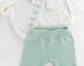 Hand knitted baby WICKELJÄCKCHEN + trousers knitting merino fine baby sweater