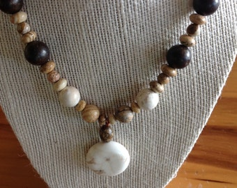 Picture Jasper and Molokite stone necklace