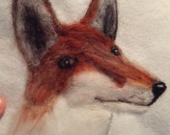Hand made needle felted fox portrait