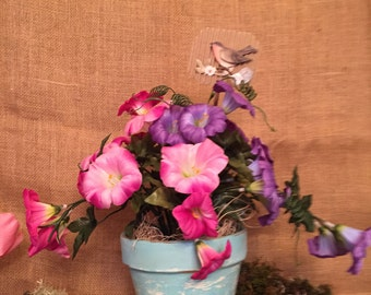 Silk Pink & Purple Morning Glory in Painted Pot