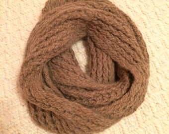 Knit undyed alpaca circle infinity scarf